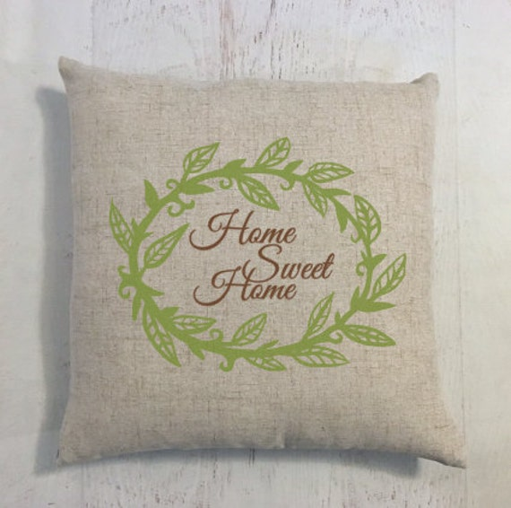 Pillow Home Sweet Home with Wreath pictured in Green and Brown
