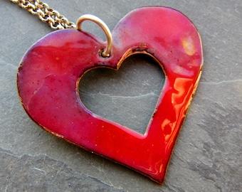 Red Enamel Copper Heart Pendant Necklace (#0230)