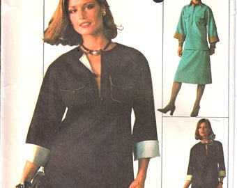 Simplicity 7656 Women's Jiffy Pullover Split Front Top , A-Line Knee Length Skirt, Straight Leg Pants Sewing Pattern Size 12  Vintage 1970's