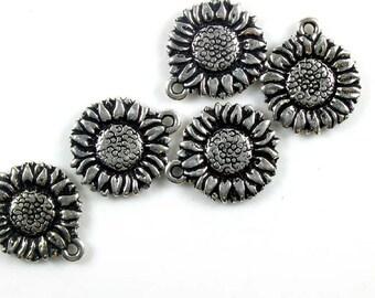 6 Silver Tierracast Sunflower Charms