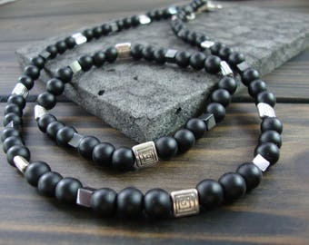 Black Jewelry set for men Mens Jewelry Gemstone Black beaded necklace Jewelry for men Mens necklace Black Gemstone beaded set Mens gift