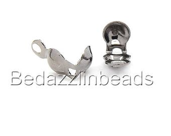 100 Gunmetal Plated Bottom Clamp Clam Shell Bead End Tips With Closed Loop for Knots & Crimp Findings
