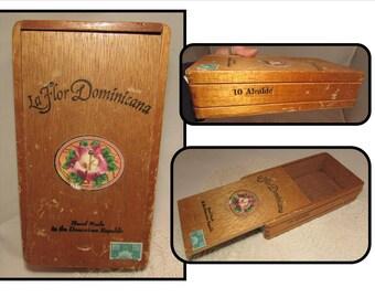 Vintage Empty Wood Cigar Box Only, La Flor Dominicana, 10 Alcalde, 1997, Dominican Republic