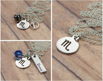 Personalized Zodiac Jewelry - Scorpio Sign Necklace - October November Birthday Gift - Engraved Astrology Charm Necklace  Scorpio Jewelry 94