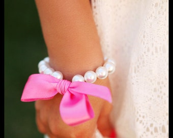 Little Girls Pearl Bracelet with ribbon for flower girl gift, toddler birthday, or babies photo prop