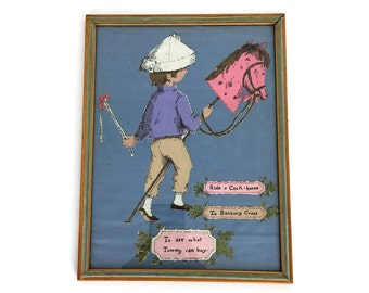 "Vintage ""Ride a Cock Horse to Banbury Cross"" Framed Cloth Nursery Art Decor // Gift for a Baby"