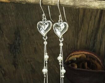 Silver Heart, Pearl Earrings, White Pearl Dangle Earrings, 925 Sterling Silver, Bridal, Wedding Jewelry, Bridesmaid Gift X400