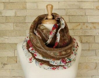 SALE - Felted Scarf - Brown Nuno Felted Floral Circle Scarf with Frills