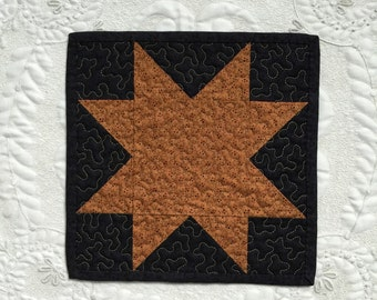 Miniature Start Quilt - square- Mug Rug - Candle Mat- Machine Quilted - Made to order - traditional - primitive