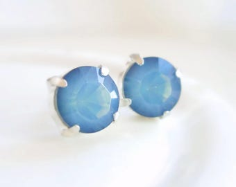 Blue Opal Studs - Blue Crystal Post Earring - White Opal Starshine - blue opal earrings