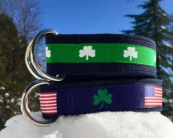 Shamrock Belt / Irish Belt / Irish American Belt / American Flag / Clover Belt / St Patricks Day Belt / Green Belt / Canvas Belt / Mens Belt