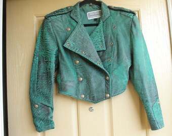 Size 7/8 North Beach leather Black Soft Leather jacket coat small 90s 1990s Micheal Hoban designer green crop cropped short