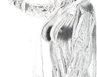 Greeting Card - Pen & Ink Drawing, A5 - Wet Blouse #2