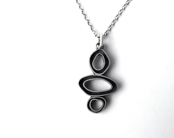 chunky hoop necklace, sterling silver, organic shaped, dimensional hoop necklace, black and silver hoops, artisan necklace, ready to ship
