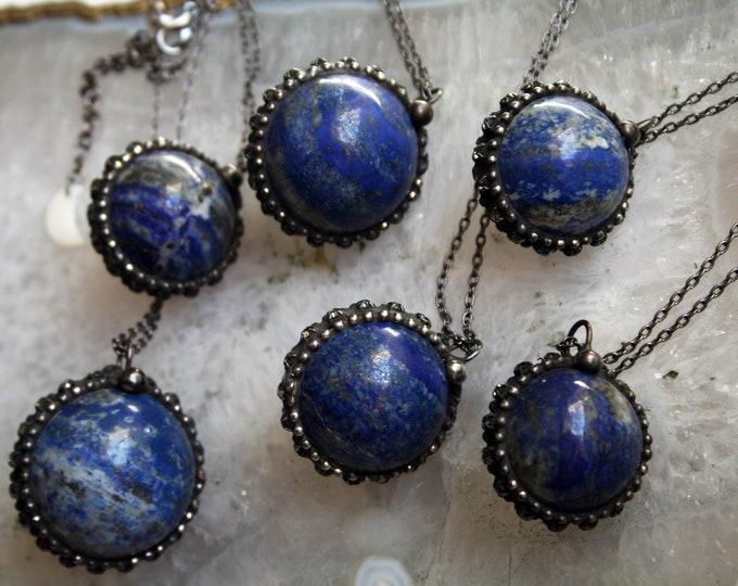 Lapis Crystal Ball Necklace // Round Lapis Lazuli Layering Necklace // Lapis Sphere Necklace
