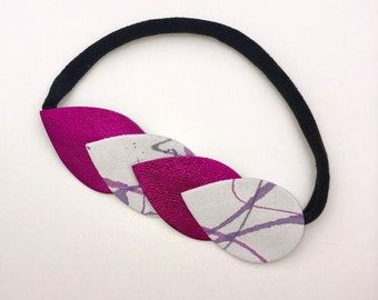 Teardrop Leather Headband for Newborn Babies, Toddlers and Girls