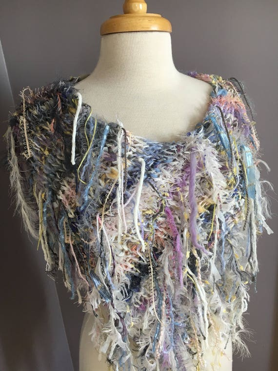 Fringed Plush Knit Poncho,  Dumpster Diva 'Wanderer' Mixed fiber Fringed Wrap, Fringed Ponchos, wearable art, huntress, rayon silk mohair