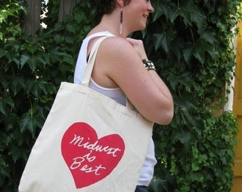 midwest is best tote, midwest is best heart, graphic tote, megan lee designs, free ship