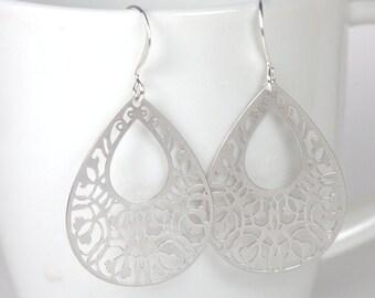Filigree Silver Teardrop Earrings, Silver Earrings, Teardrop Earrings, Silver Dangle Earrings, Teardrop Drop Silver Earrings