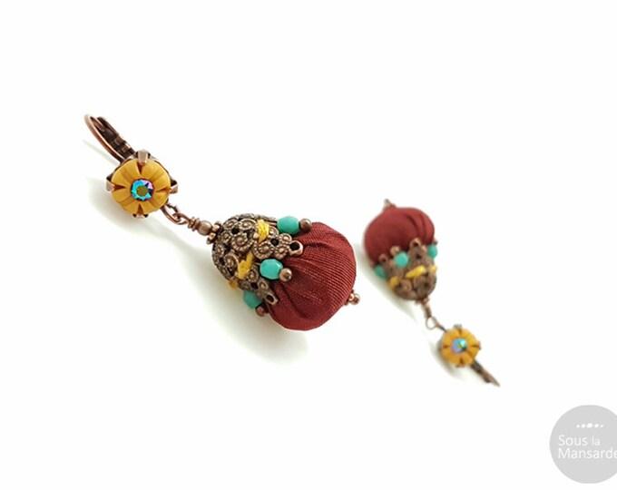 Featured listing image: Boucles d'oreilles bohème rouge sombre
