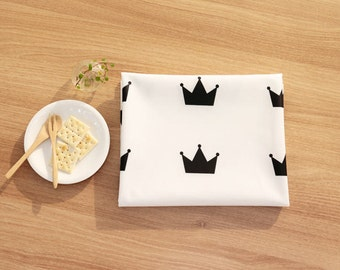 Black Crown Laminated Cotton Fabric - Fabric By the Yard 89144