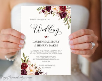 Burgundy Floral Wedding Invitation Template, Printable 5x7 Watercolor Wedding Invites, Fits Vistaprint, DIY PDF Instant download #101