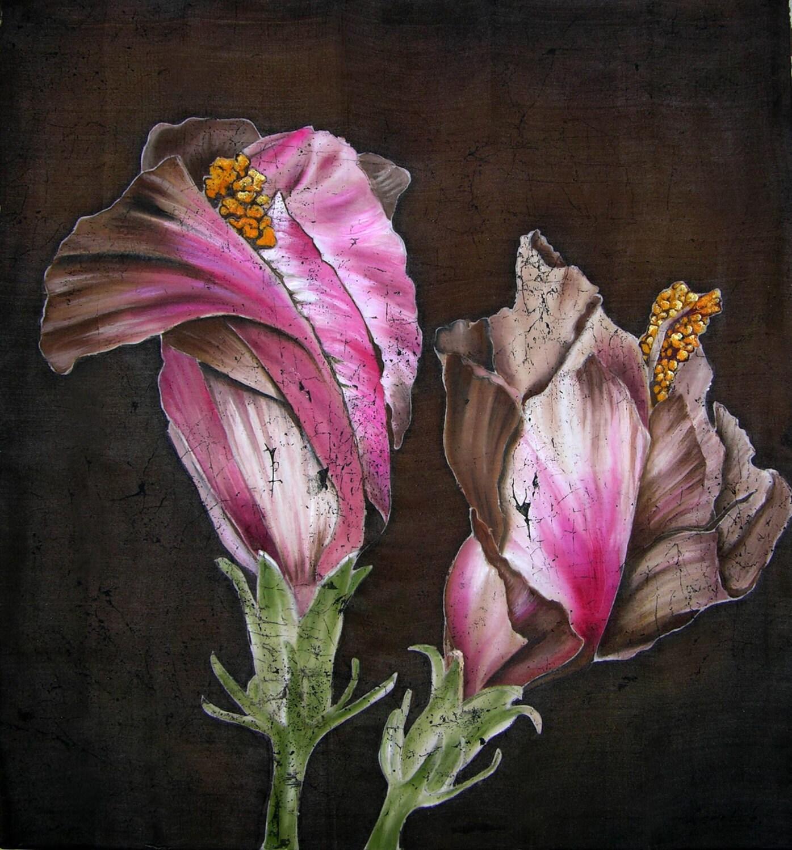 Flowers on brown original silk painting batik art flowers zoom mightylinksfo