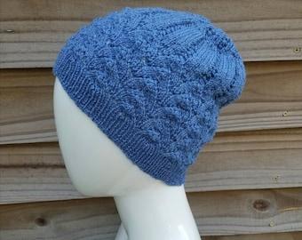 slouchey beanie, womens knit beanie hat, mens beanie hat, gift for her, slouchy knit hat, merino wool hat, knit, merino wool, blue