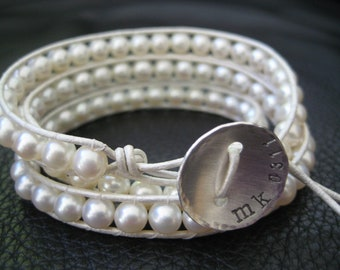 Boho Chic -  pearl wrap bracelet,  custom stamped button,  great for weddings, birthday, mothers day