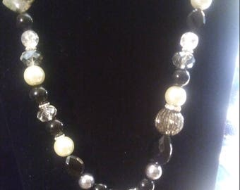 Black Agate and Pearl Necklace Set