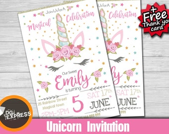 "Unicorn Invitation ""UNICORN BIRTHDAY INVITATION"" - Rainbow Whimsical Unicorn Party Invite, Magical Unicorn, Pink Princess Printable, Poney"