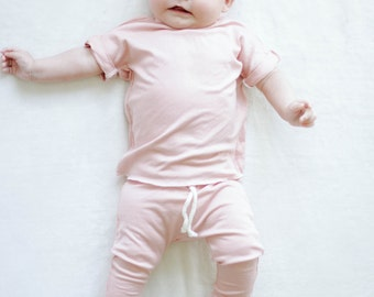 Baby shirt and pants set, Harem pants, Short sleeve tee,Pink set, Modern cothes