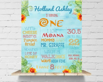 Moana Style First Birthday Poster Tropical Summer Ocean Girls First Birthday Sign, Printable File, Photo Prop, Listing #2069