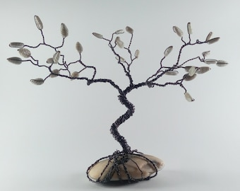 Handmade Wire Tree Sculpture with base of granite rock. Home decor. Modern and Vintage Art. It's Craft Supplie, Office Decor, Forniture