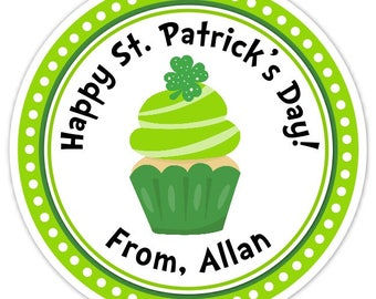 Happy St Patrick's Day Stickers, Cute Cupcake with Four Leaf Clover Labels, 2.5 inch round
