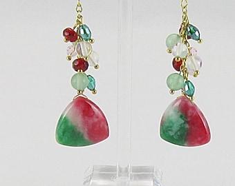 Earrings - Watermelon Jade Teardrops With Crystals, Moonstone, Jade - Oh My! (E166)