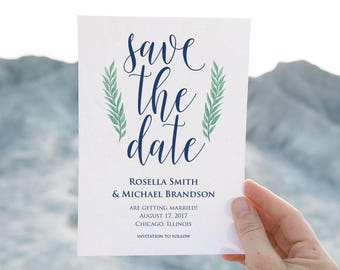 Navy Blue,Save the Date Template,Save the Date Cards, Save the Date Printable, Rustic Save The Date, Wedding Template, PDF Template, LDS_157