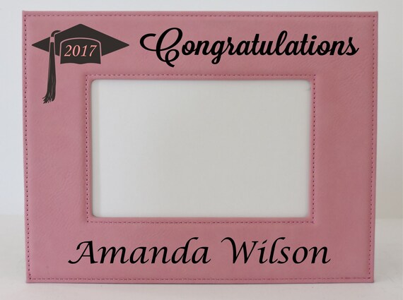 Graduation Frame Class of 2017 Pink Leather Picture Frame Customized ...