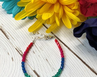 Color Block Beaded Bracelet Stack Bracelet Minimalist Bracelet Gifts for Her 10 and Under Bracelet for Her Multicolor Czech Bead Bracelet