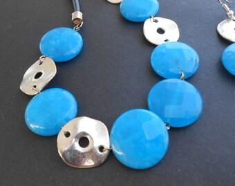 Free Shipping | Cyan Blue Agate Leather Statement Necklace Jewelry Set Chunky Blue Gemstone Jewelry Bold Modern Jewelry Neon Blue
