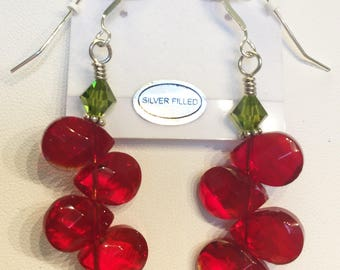 Earrings Red Green Teardrops Christmas Holidays Special Occasion