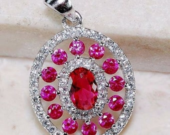 Beautiful Ruby, White Topaz & Sterling Silver Pendant