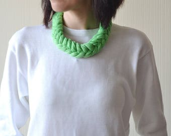 gardening gift green necklace for women linen necklace greenery Mothers day gift boho gift sister gift vegan gift green gifts soft necklace
