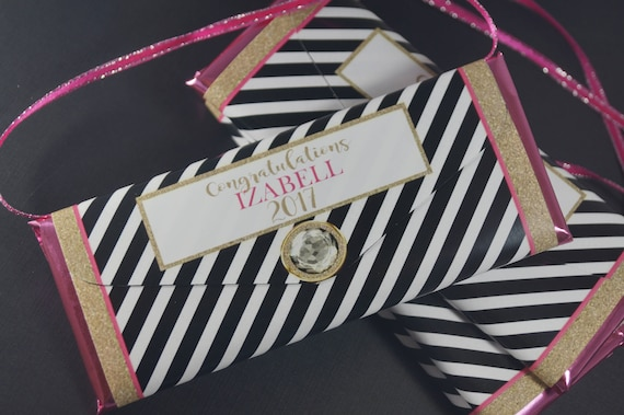 Black And White Stripe Personalized Candy Bar Wrappers Purse