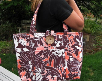 Handcrafted Large Fabric Tote Bag in Chocolate Brown and Tangerine