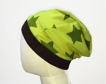 Organic Toddler Boy Beanie Hat, Stars Slouchy Beanie, Size 1T, Green Jersey Boys Hat