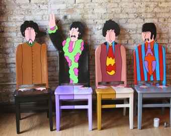 The Beatles Yellow Submarine Artwork upcycled chairs painted by Artist Todd Fendos
