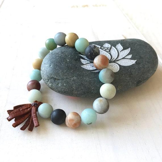 Bohemian Stone Bracelet, Leather Tassel Stretch Bracelet, Boutique Style Jewelry, Yoga Jewelry, Boho Chic Bracelet, Healing Amazonite