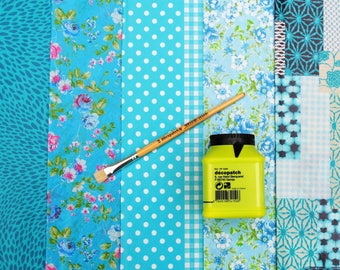 Decopatch Value Paper Collection Decopatch Paper Glue and Brush kit Economy Starter Decopatch kit with 5 Papers Crafting 8 Colour Choices