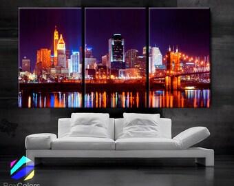 "LARGE 30""x 60"" 3 Panels Art Canvas Print Cincinnati Skyline night light Downtown bridge Wall Home decor interior (framed 1.5"" depth)"
